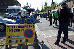 S. C. Michela Fanini riders warm up for La Flèche Wallonne Femmes - a 120 km road race, starting and finishing in Huy on April 19, 2017, in Liège, Belgium.