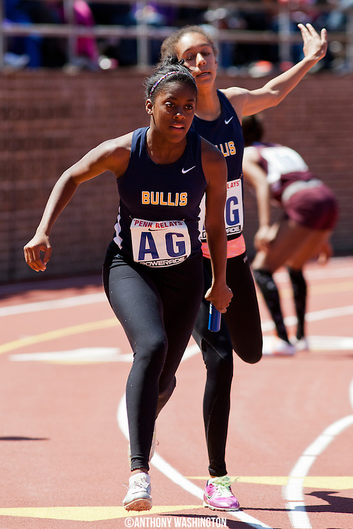 Idrienne Walker of Bullis School competes in the 4x100 at the 119th Penn Relays on Thursday, April 25, 2013 in Philadelphia, PA.
