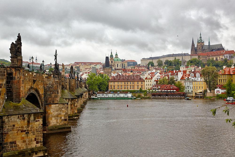 Charles Bridge spans the Vitava River in Prague in the Czech Republic