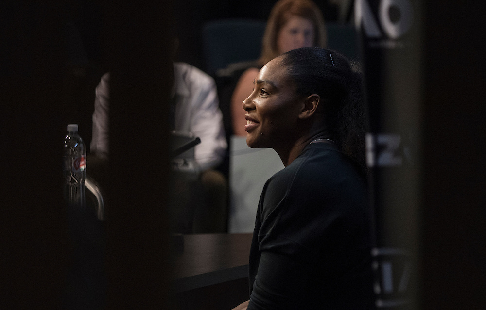 Serena Williams of the United States during her pre-tournament press conference ahead of the 2017 Australian Open at Melbourne Park on January 14, 2017 in Melbourne, Australia.<br /> (Ben Solomon/Tennis Australia)