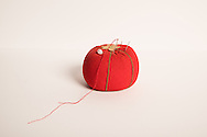 Still life photo of a vintage red pin cushion 7.10.16