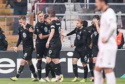 Malmo FF celebrate the goal of Marcus Antonsson of Malmo FF during the UEFA Europa League group I match between between Besiktas AS and Malmo FF at the Besiktas Park on December 13, 2018 in Istanbul, Turkey