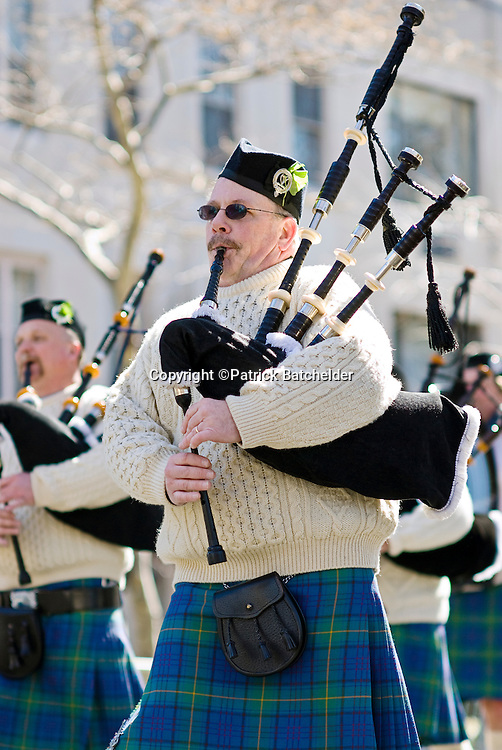 The St. Patrick's Day Parade on Fifth Avenue in Manhattan, New York City, held every March.