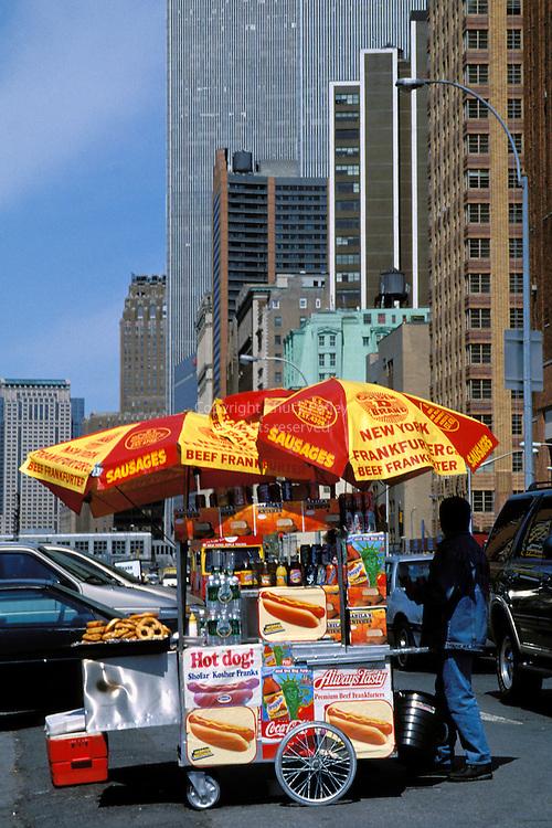 Hot Dog Street Vendor At Battery Park, Lower Manhattan, New York NY