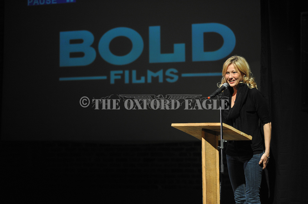 """Actress, writer, and director Joey Lauren Adams speaks about her 2006 film """"Come Early Morning"""", during the  at the Powerhouse, in Oxford, Miss. on Friday, March 6, 2015. The program is part of the Sarah Isom Center's Women in Film Industry series."""