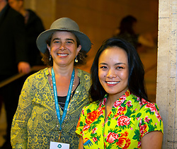 """Ellen Spiro, left, the director of """"Come and Take It,"""" and star Jessica Jin pose for a photograph at the Gala for the CAAM Film Festival, at the Asian Art Museum, Thursday, May 10, 2018 in San Francisco, Calif. (D. Ross Cameron/SF Chronicle)"""