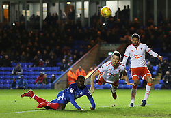 Idris Kanu of Peterborough United challenges for the ball with Will Aimson of Blackpool - Mandatory by-line: Joe Dent/JMP - 18/11/2017 - FOOTBALL - ABAX Stadium - Peterborough, England - Peterborough United v Blackpool - Sky Bet League One