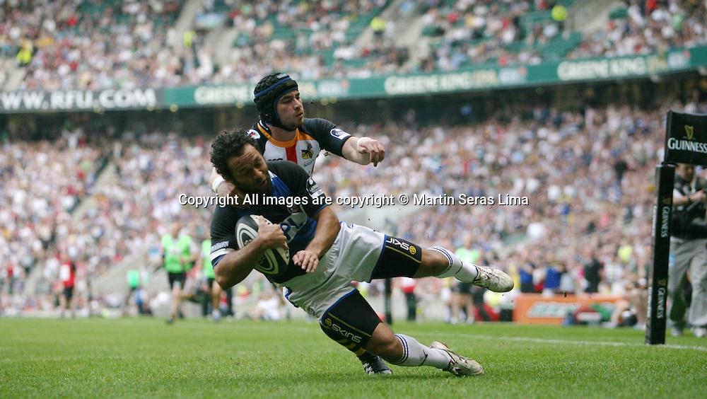 Joe Waddock scoring a try - Guinness Premiership - London Wasps v Bath Rugby - Saturday 24 April 2010. Twickenham - London