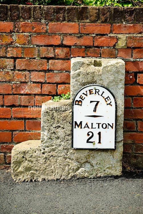 Lund Village, East Yorkshire. Milepost on North road