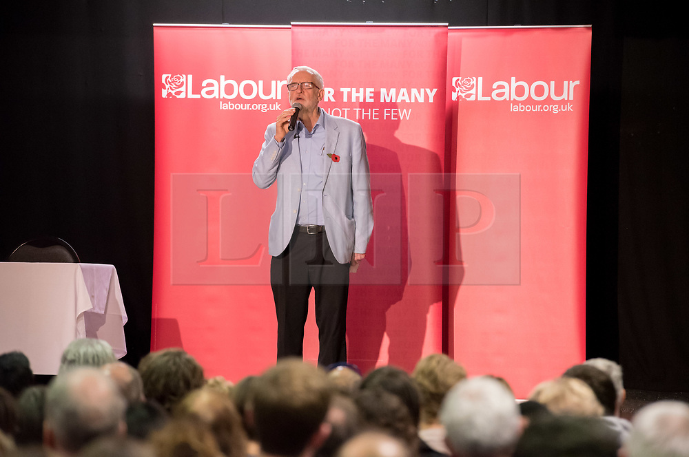 © Licensed to London News Pictures. 02/11/2019. Bristol, UK.  Labour leader JEREMY CORBYN speaks at a campaign event at the start of Labour's general election campaign in the South West of England at the BAWA Club for the seat of Filton and Bradley Stoke, a Conservative-held marginal seat. Labour are promising the biggest people-powered campaign the country has ever seen. Photo credit: Simon Chapman/LNP.