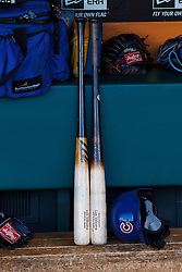 SAN FRANCISCO, CA - MAY 27:  General view of baseball bats and a batting helmet belonging to Luis Valbuena #24 of the Chicago Cubs (not pictured) in the dugout before the game against the San Francisco Giants at AT&T Park on May 27, 2014 in San Francisco, California.  The San Francisco Giants defeated the Chicago Cubs 4-0.  (Photo by Jason O. Watson/Getty Images) *** Local Caption ***