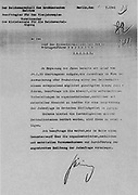 Herman Göring's (Goering) letter of 31 July 1941, to Reinhard Heydrich authorizing the Final Solution to the Jewish question.   The  Wansee Conference, 20 January 1942 informed the leaders of the Nazi departments dealing with Jewish policies that Heydrich was in charge of the Final Solution.
