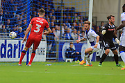 Matty Taylor scores 1-1 during the EFL Sky Bet League 1 match between Bristol Rovers and Rochdale at the Memorial Stadium, Bristol, England on 10 September 2016. Photo by Daniel Youngs.