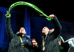 Gasper Marguc and Blaz Janc during reception of Slovenian National Handball Men team after they placed third at IHF World Handball Championship France 2017, on January 30, 2017 in Mestni trg, Ljubljana centre, Slovenia. Photo by Vid Ponikvar / Sportida