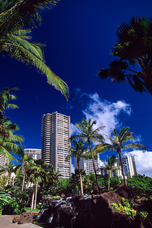 Skyscrapers near Waikiki, Honolulu, Oahu, Hawaii USA