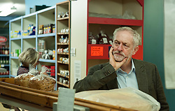 © Licensed to London News Pictures. 15/10/2015. Bristol, UK.  JEREMY CORBYN, leader of the Labour Party, visits Licata's Italian Delicatessan shop in Picton Street, Montpelier, Bristol,  following a rally for Labour Party members at the Trinity Centre in Bristol, to highlight and oppose the impact of the Government's changes to voter registration, expected to remove 1 million voters from the electoral roll by the end of the year. Photo credit : Simon Chapman/LNP