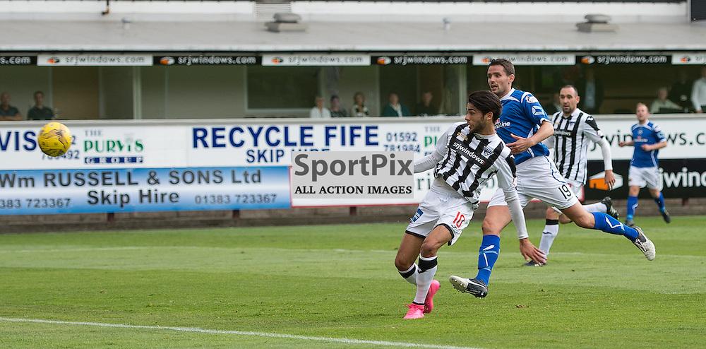 Dunfermline Athletic v Stranraer, SPFL League One, East End Park, 29 August 2015<br /> Faissal El Bahktaoui scores the first goal during the SPFL League One encounter between Dunfermline and Stranraer.<br /> ROSS PARKER | SportPix.org.uk