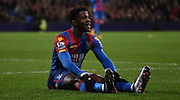 Wilfried Zaha takes a minute out during the Barclays Premier League match between Crystal Palace and Bournemouth at Selhurst Park, London, England on 2 February 2016. Photo by Michael Hulf.