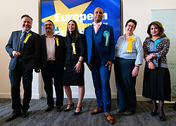 Edinburgh, Scotland, UK. 27 May, 2019. The six new Scottish MEPs are declared at the City Chambers in Edinburgh, SNP's Alyn Smith, Christian Allard and Aileen McLeod, Louis Stedman-Bruce from the Brexit Party, Sheila Ritchie of the Liberal Democrats and Baroness Nosheena Mobarik of the Conservatives. Pictured The six new Scottish MEPs.