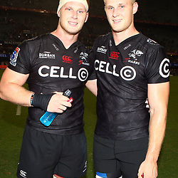 Jean-Luc du Preez with Daniel Du Preez of the Cell C Sharks during The Cell C Sharks training session at Growthpoint Kings Park in Durban, South Africa. 7th March 2017(Photo by Steve Haag)<br /> <br /> images for social media must have consent from Steve Haag