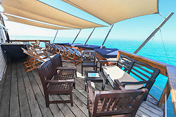 This floating bar and pizzeria in Fiji is what paradise is made of. The appropriately named Cloud 9 can be found bobbing along the turquoise waters just off the coast of Viti Levu, the largest of Fiji's 332 islands. The novel South Pacific outpost not only boasts a full bar and wood fire Italian pizzas, but also gives guests a slice of action with a host of water sports activities on offer. There are jet skis and motorized surfboards, as well as jet ski water tours for the more adventurous visitors. Plus special parasailing excursions can be organized to explore nearby attractions including Modriki Island, as featured in Castaway. Those feeling less intrepid can just relax and work on their tan on a daybed in one of the lounging areas while enjoying music from one of the rotating cast of international DJs on board. Each guests pays $115USD for around seven hours onboard, with departures at 9.15am and 11.15am rom nearby Denarau. And for those with deeper wallets the entire venue can be hired privately in four hour blocks, just a drop in the ocean at $5,000USD. 13 Nov 2017 Pictured: Cloud 9 is a floating pizzeria and bar, an idyllic outpost located just off the coast of Viti Levu, the largest of Fiji's 332 islands. Photo credit: Cloud9/ MEGA TheMegaAgency.com +1 888 505 6342