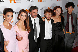 (L-R) Actresses SAADET AKSOY and PENELOPE CRUZ, director SERGIO CASTELITO, Actor EMILE HIRSCH, writer MARGARET MAZZANTINI and actor PIETRO CASTELLITTO  at the at the 'Twice Born' premiere during the 2012 Toronto International Film Festival at Roy Thomson Hall, September 13th 2012.  Photo by David Tabor/ i-Images.