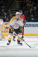 KELOWNA, CANADA - OCTOBER 25: Ivan Provorov #9 of Brandon Wheat Kings stands on the ice against the Kelowna Rockets on October 25, 2014 at Prospera Place in Kelowna, British Columbia, Canada.  (Photo by Marissa Baecker/Shoot the Breeze)  *** Local Caption *** Ivan Provorov;