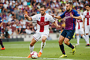 Jorge Miramon of Huesca and Jordi Alba of FC Barcelona during the Spanish championship La Liga football match between FC Barcelona and Huesca on September 2, 2018 at Camp Nou Stadium in Barcelona, Spain - Photo Xavier Bonilla / Spain ProSportsImages / DPPI / ProSportsImages / DPPI