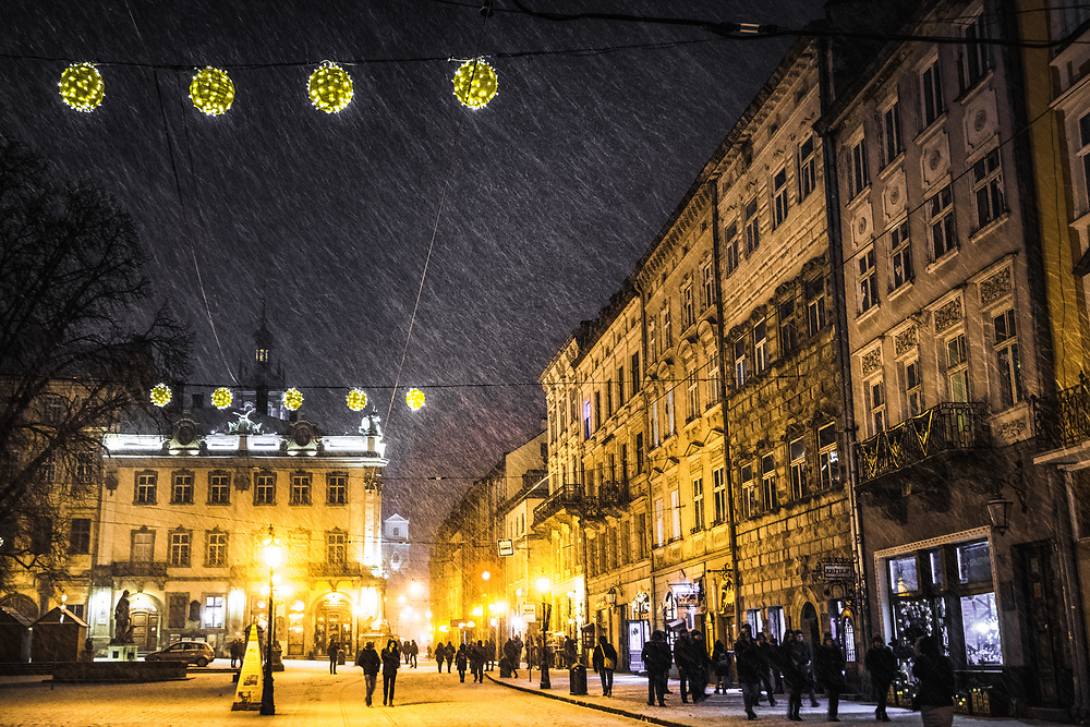 Snowy night in Lviv, Ukraine
