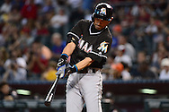PHOENIX, AZ - JUNE 12:  Ichiro Suzuki #51 of the Miami Marlins takes a practice swing prior to his at bat against the Arizona Diamondbacks in the ninth inning at Chase Field on June 12, 2016 in Phoenix, Arizona.  The Arizona Diamondbacks won 6-0.  (Photo by Jennifer Stewart/Getty Images)