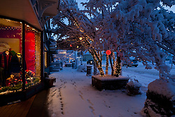 """Holiday Lights in Downtown Truckee 3"" - These snow covered holiday lights were photographed on Commercial Row in historic Downtown Truckee, CA."