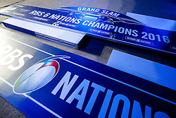 """The winners stage with """"Grand Slam"""" on it lays in wait behind the scenes before the game in anticipation of an England win - Mandatory byline: Rogan Thomson/JMP - 19/03/2016 - RUGBY UNION - Stade de France - Paris, France - France v England - RBS 6 Nations 2016."""