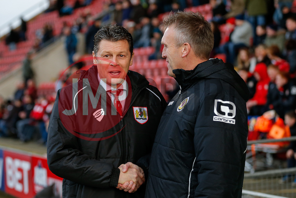 Bristol City Manager Steve Cotterill is greeted by Crewe Alexandra Manager Steve Davis - Photo mandatory by-line: Rogan Thomson/JMP - 07966 386802 - 20/12/2014 - SPORT - FOOTBALL - Crewe, England - Alexandra Stadium - Crewe Alexandra v Bristol City - Sky Bet League 1.