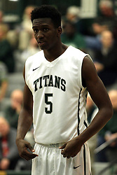 17 November 2015:  Jaylen Beasley(5) during an NCAA men's division 3 CCIW basketball game between the Greenville College Panthers and the Illinois Wesleyan Titans in Shirk Center, Bloomington IL
