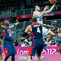 06 August 2012: Argentina Manu Ginobili goes for the layup during 126-97 Team USA victory over Team Argentina, during the men's basketball preliminary, at the Basketball Arena, in London, Great Britain.