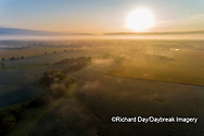 63893-03705 Sunrise and fog aerial view Marion Co. IL