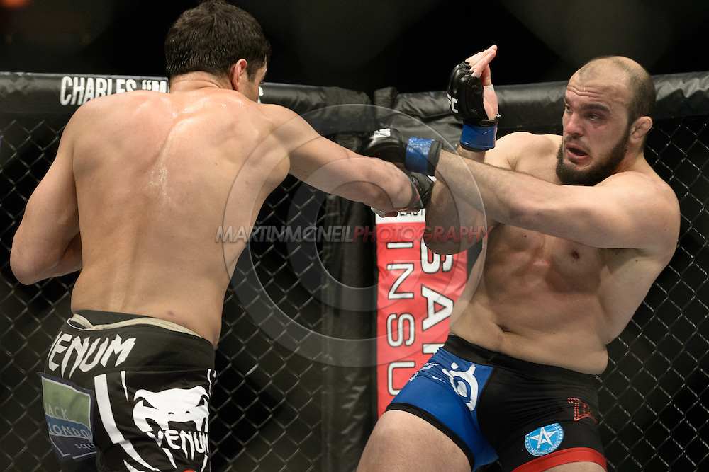 """STOCKHOLM, SWEDEN, APRIL 6, 2013: Action from in and around the octagon during """"UFC on Fuel 9: Mousasi vs. Latifi"""" inside the Ericsson Globe Arena in Stockholm, Sweden (Martin McNeil for SB Nation)"""
