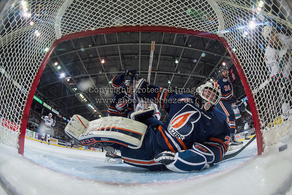 KELOWNA, CANADA - APRIL 1:  Connor Ingram #39 of Kamloops Blazers looks at the puck in the net on a shot from Rodney Southam #17 of Kelowna Rockets on April 1, 2016 at Prospera Place in Kelowna, British Columbia, Canada.  (Photo by Marissa Baecker/Shoot the Breeze)  *** Local Caption *** Connor Ingram; Rodney Southam;