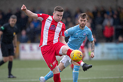 East Fife's Anton Dowds and Forfar Athletic's Brad Spencer. Forfar Athletic 3 v 0 East Fife, Scottish Football League Division One game played 2/3/2019 at Forfar Athletic's home ground, Station Park, Forfar.