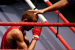 Milan, 01-09-2009 ITALY - Aiba World Boxing Championship Milan 2009.  Fly 51 kg preliminaries..Pictured: Aleksandrov Aleksander (BUL) red vins the match..Photo by Giovanni Marino/OTNPhotos . Obligatory Credit
