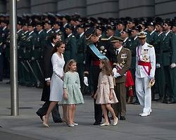 Spain's King Felipe VI (C), Spain's Queen Letizia (2nd L), Spanish Crown Princess of Asturias Leonor (3rd R) and Spanish Princess Sofia (3rd L) attend a military review prior to the new king's succession ceremony in Madrid. EXPA Pictures © 2014, PhotoCredit: EXPA/ Photoshot/ Xie Haining<br /> <br /> *****ATTENTION - for AUT, SLO, CRO, SRB, BIH, MAZ only*****