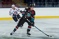 KELOWNA, CANADA - SEPTEMBER 5: Nolan Foote #29 of the Kelowna Rockets skates with the puck against the Kamloops Blaers on September 5, 2017 at Prospera Place in Kelowna, British Columbia, Canada.  (Photo by Marissa Baecker/Shoot the Breeze)  *** Local Caption ***