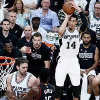 03 May 2017: San Antonio Spurs guard Danny Green (14) takes a jump shot during the San Antonio Spurs 121-96 victory over the Houston Rockets, in game 2 of the Western Conference Semi Finals, at the AT&T Center, San Antonio, Texas, USA.