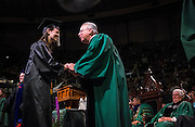 Scripps College and School of Visual Communication graduate Kayla Hoffman is all smiles during Undergraduate Commencement Saturday, May 2, 2015 in the Convocation Center.  Photo by Ohio University  /  Rob Hardin