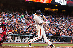 SAN FRANCISCO, CA - JULY 26: Matt Cain #18 of the San Francisco Giants hits a three run home run against the Cincinnati Reds during the second inning at AT&T Park on July 26, 2016 in San Francisco, California.  (Photo by Jason O. Watson/Getty Images) *** Local Caption *** Matt Cain