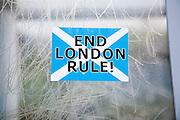 Scottish Independence poster sticker saying 'End London Rule', Barra, Outer Hebrides, Scotland, UK
