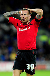 Cardiff City's Craig Bellamy cuts a dejected figure after Cardiff City lose - Photo mandatory by-line: Dougie Allward/JMP  - Tel: Mobile:07966 386802 15/12/2012 - SPORT - FOOTBALL -  Championship -  Cardiff-  New Cardiff City Stadium  -  Cardiff City v Peterborough United