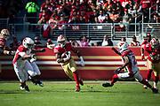 San Francisco 49ers running back Carlos Hyde (28) carries the ball against the Arizona Cardinals at Levi's Stadium in Santa Clara, Calif., on November 5, 2017. (Stan Olszewski/Special to S.F. Examiner)