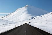 An Icelandic road in winter