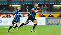 """Esultanz di Douglas Maicon dell'Inter<br /> Milano 16/4/2010 Stadio """"Giuseppe Meazza""""<br /> Inter Juventus<br /> Campionato di calcio di serie A 2009/2010<br /> Foto Bibi Insidefoto"""